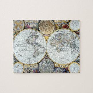 Antique World Map, Atlas Maritimus by John Seller Jigsaw Puzzle