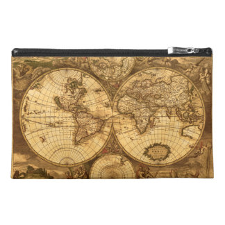 Antique World Map Travel Accessory Bags