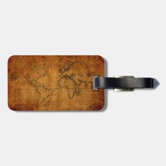 Antique World Map Bag Tag