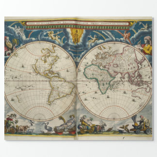 Antique World Map - Blaeu, Joan 1664