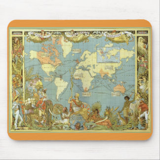 Antique World Map, British Empire, 1886 Mousepads