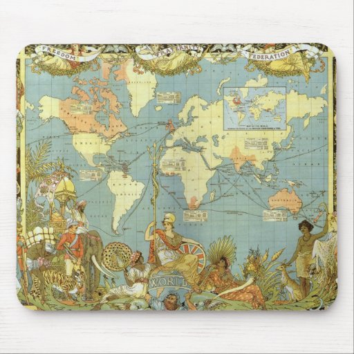 Antique World Map, British Empire, 1886 Mousepads