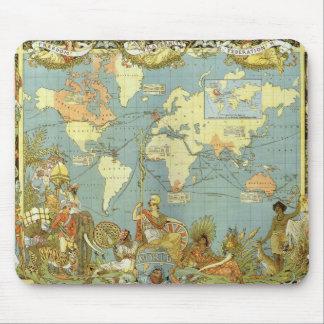 Antique World Map, British Empire, 1886 Mousepad