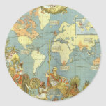 Antique World Map, British Empire, 1886 Round Stickers