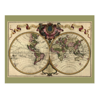 Antique World Map by Guillaume de L'Isle, 1720 Postcard