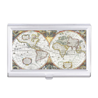 Antique World Map by Hendrik Hondius, 1630 Business Card Cases