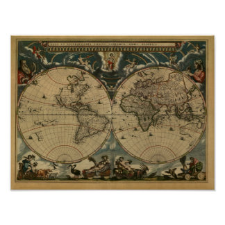 Antique World Map by Joan Blaeu, circa 1664 Poster