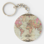 Antique World Map by John Colton, circa 1854 Key Chains