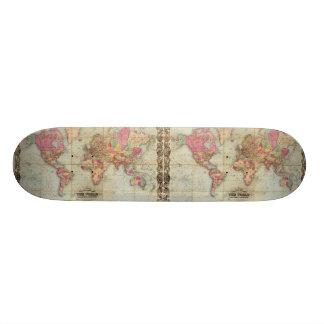 Antique World Map by John Colton, circa 1854 Skateboard