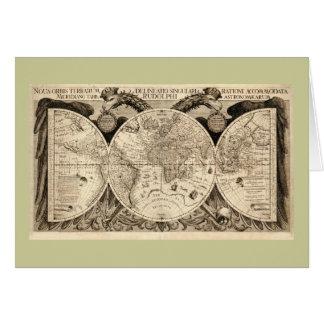 Antique World Map by Philipp Eckebrecht - 1630 Card