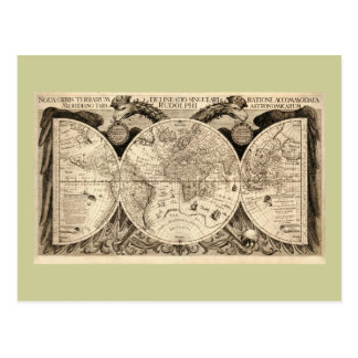 Antique World Map by Philipp Eckebrecht - 1630 Postcard