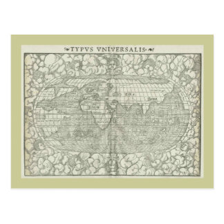 Antique World Map by Sebastian Münster circa 1560 Postcard