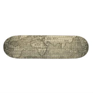 Antique World Map by Sebastian Münster circa 1560 Skate Board