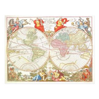 Antique World Map c1694 Postcard