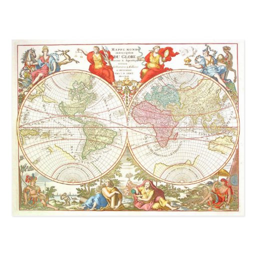 Antique World Map c1694 Postcard