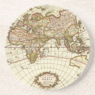 Antique World Map, c. 1680. By Frederick de Wit Beverage Coaster