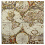 Antique World Map, c. 1680. By Frederick de Wit Printed Napkin