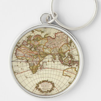 Antique World Map, c. 1680. By Frederick de Wit Silver-Colored Round Key Ring