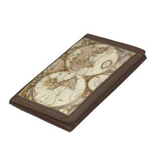 Antique World Map, c. 1680. By Frederick de Wit Tri-fold Wallet