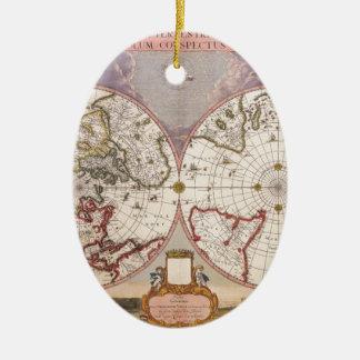 Antique World Map Ceramic Oval Decoration
