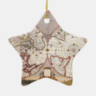 Antique World Map Ceramic Star Decoration