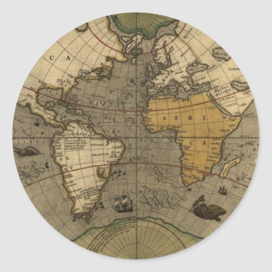 Antique world map classic round sticker zazzle antique world map classic round sticker gumiabroncs Image collections