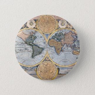 Antique world map cool 6 cm round badge