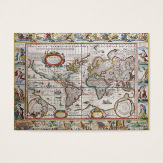 Antique World Map custom business cards