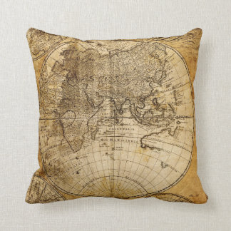 Antique World Map Custom Pillow