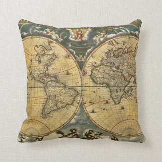 Antique World Map Distressed #2 Throw Pillow