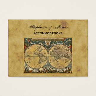 Antique World Map Distressed BG Accommodations Business Card