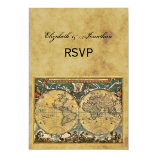 Antique World Map, Distressed BG RSVP 3.5x5 Paper Invitation Card