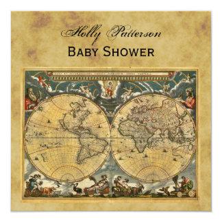 Antique World Map, Distressed BG SQ Baby Shower 5.25x5.25 Square Paper Invitation Card