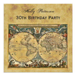 Antique World Map, Distressed BG SQ Birthday 5.25x5.25 Square Paper Invitation Card
