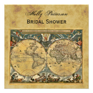 Antique World Map, Distressed BG SQ Bridal Shower Invitations