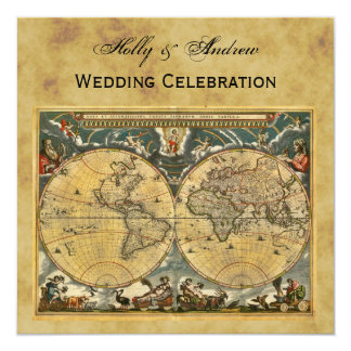 Antique World Map, Distressed BG SQ Wedding Card