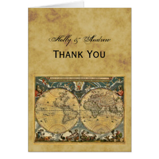 Antique World Map, Distressed BG Thank You Card
