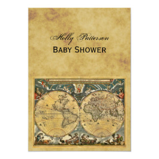 Antique World Map, Distressed BG V Baby Shower Invite