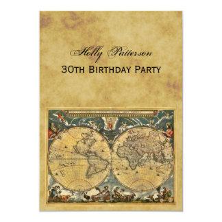 Antique World Map, Distressed BG V Birthday 13 Cm X 18 Cm Invitation Card