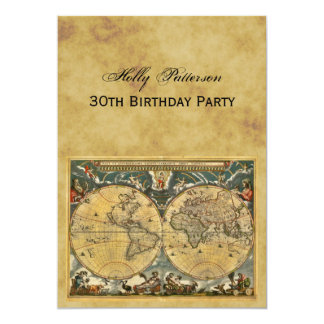 Antique World Map, Distressed BG V Birthday 5x7 Paper Invitation Card