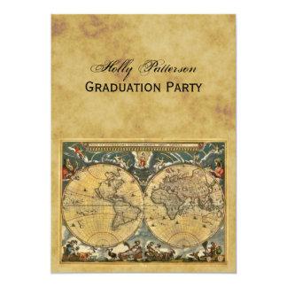 Antique World Map, Distressed BG V Graduation 5x7 Paper Invitation Card