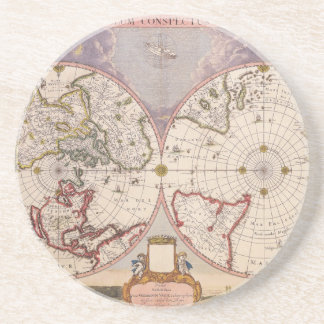 Antique World Map Drink Coasters