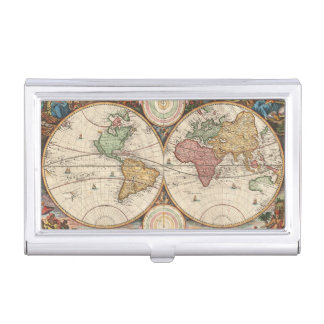 Antique World Map in two Hemispheres Business Card Holder