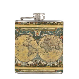 Antique World Map - Joan Blaeu - 1664 Flasks