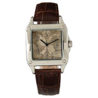 antique world map leather watch