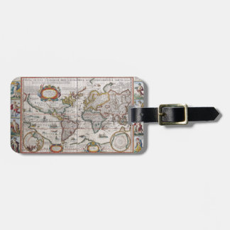 Antique World Map luggage tag