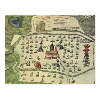 Antique World Map; Montezuma Aztec Empire, 1577 Postcard