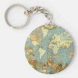 Antique World Map of the British Empire, 1886 Basic Round Button Key Ring