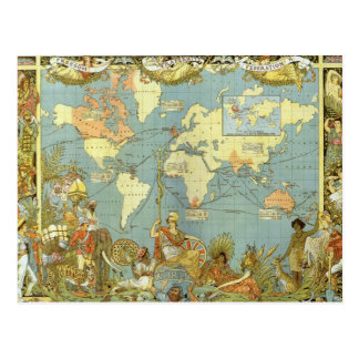 Antique World Map of the British Empire, 1886 Postcard