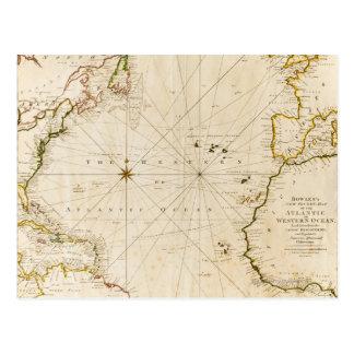 Antique world map postcard